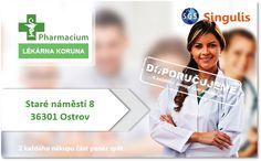 NOVÝ OBCHODNÍ PARTNER V OSTROVĚ  LÉKÁRNA KORUNA   LÉKÁRNA KORUNA S 18 LETOU TRADICI  Lékárna Koruna byla otevřena v roce 1993, jako první soukromá lékárna v okrese Karlovy Vary od sametové revoluce.  Mezi hlavní služby, které naše lékárna poskytuje zejména patří:  • výdej léčiv na recepty • prodej volně prodejných léčiv • prodej léčiv s omezením • prodej veterinárních léčiv (základní sortiment, volně prodejné) • homeopatie  http://www.singulis.cz/p