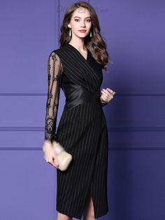 Stripe V-Neck Long Sleeve Lace Stitching Slit Bodycon Dress - DressSure.com  Playing eb8a4510e