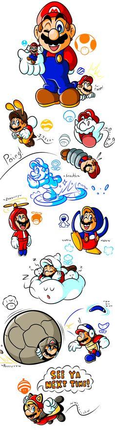 Mario's Gallery of Power-Ups (2006-2012) by JamesmanTheRegenold.deviantart.com on @deviantART