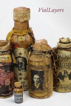 Potion Bottle, Bottle Art, Bottle Crafts, Halloween Tags, Halloween Crafts, Halloween Decorations, Bottle Decorations, Handmade Decorations, Decorative Bottles