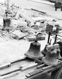 """#FallRiver's """"old"""" city hall was demolished on Dec. 6, 1962, to make way for Interstate 195 and, later, the new Government Center. In this photo are the """"Watson chimes,"""" the bells that had resided in the old city hall's belfry."""
