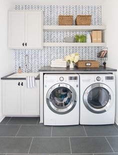 Wallpapered Laundry Room - The Lilypad Cottage