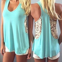 Lace tank top Lace tank top / lace looks more white than cream colored . Z Tops Tank Tops