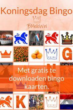 Koningsdag bingo, Met gratis te downloaden bingo kaarten. BMelloW.nl Dementia Activities, Activities For Kids, Holland, Diy And Crafts, Crafts For Kids, Dutch Language, Kings Day, Pocket Letters, Special People