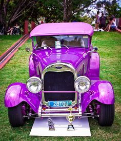 Ford Classic Car 'Purple' Australia, (front view). Photographer: Jamie Waddell - classic vintage vehicle at show in Townsville, Queensland, Australia.