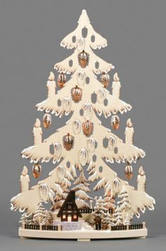 Tannenbaum mit Waldhütte Erzgebirge in Antiquitäten & Kunst, Volkskunst, Erzgebirge, Objekte nach 1945, Schwibbögen & Lichterbögen | eBay