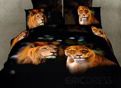 Mild Lifelike Lion With High Quality 4 Pieces Bedding Sets Animal Print Bedding