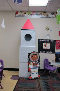 Outer Space theme: Rocket in the dress up center. Also, could be used for a large motor skill for building could be bigger for use in pretend play. Space Preschool, Space Activities, Preschool Classroom, Preschool Activities, Kindergarten Science, Space Classroom, Classroom Themes, Space Projects, Space Crafts