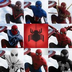 """So many spideys so little timeeeeee <span class=""""emoji emoji2764""""></span>️<span class=""""emoji emoji1f499""""></span> Love all these edits of the new mcu spidey, ..."""