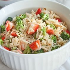 Broccoli and strawberry orzo (pasta) salad. Great summer dish!