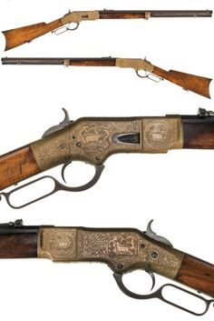 Rare John Ulrich exhibition engraved Winchester Model 1866 lever action rifle.