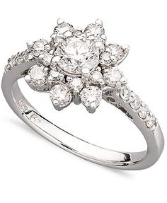 Diamond Ring, 14k White Gold Diamond Flower Ring (1-1/6 ct. t.w.)