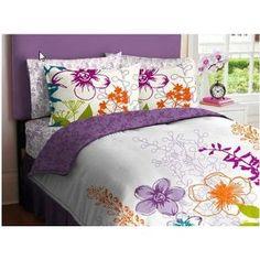 Purple Green Orange White Girls Flowered Full Comforter Bed In A Bag Set $79