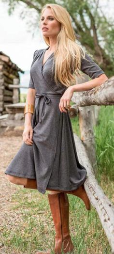 love this grey wrap dress with brown boots
