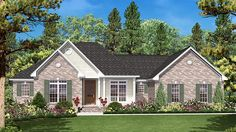 Home Plan HOMEPW77286 - 1600 Square Foot, 3 Bedroom 2 Bathroom Ranch Home with 2 Garage Bays | Homeplans.com