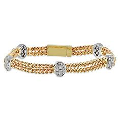 14k Yellow and White Gold Two Row Diamond Station Bracelet from Borsheims