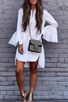 Cheap blouse fashion, Buy Quality fashion blouses directly from China high low blouse Suppliers: Ruffle White Shirt Women Fashion Tops 2017 Autumn Ladies Elegant Lapel Long Sleeve High Low Blouse Long Shirt Dress, Short Mini Dress, Long Blouse, Blouse Dress, Ruffle Blouse, Elegant Summer Dresses, Long Summer Dresses, Casual Dresses, Casual Clothes
