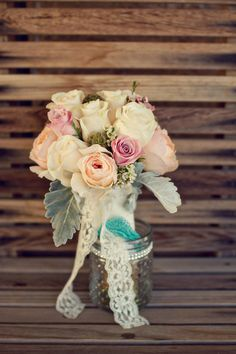 Wedding bouquet with lace.
