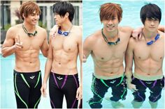 cosplay by Yoshi and Peter Sudarso Male Cosplay, Anime Cosplay, Haru And Makoto, Makoharu, Free Iwatobi Swim Club, Male Body, Yoshi, Handsome, Swimming