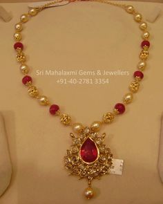 Short Necklace with Pearls & Ruby beads Big Ruby Pendent