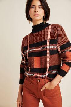 Davina Karierter Rollkragenpullover | Anthropologie DE Pullover Sweaters, Men Sweater, Turtleneck Outfit, Anthropologie, Plaid Skirts, Mock Neck, Dresses For Sale, Knitwear, Turtle Neck