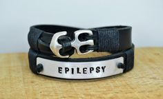 FREE SHIPPING Hand Stamped Medical Alert Bracelet,Epilepsy Alert Leather Bracelet,Epilepsy Bracelet,Allergy Bracelet,Mens bracelet // $40