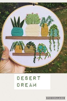 Custom hand stitched garden scene  cacti and succulent