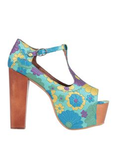 Leather No appliqués Floral design Buckle fastening Open toe Square heel Wooden heel Leather lining Rubber sole Contains non-textile parts of animal origin Women's Pumps, Heels, Jeffrey Campbell, Sportswear Brand, Soft Leather, Open Toe, Bag Accessories, Shopping Bag, Floral Design