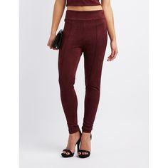 Charlotte Russe Faux Suede Leggings ($20) ❤ liked on Polyvore featuring pants, leggings, burgundy, stretch waist pants, high-waisted pants, burgundy high waisted pants, high-waisted leggings and faux suede leggings