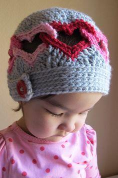 CROCHET PATTERN - Be Mine - a linked heart hat in 8 sizes (Infant - Adult L)â?¦