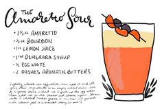 Amaretto Sour Cocktail Recipe: http://ohsobeautifulpaper.com/2015/03/friday-happy-hour-amaretto-sour-cocktail-recipe/ | Recipe: Liquorary for Oh So Beautiful Paper | Illustration: Shauna Lynn for Oh So Beautiful Paper #OSBPhappyhour