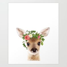 Baby Deer With Flower Crown, Baby Animals Art Print By Synplus Throw Pillow by synplus - Cover x with pillow insert - Baby Animal Drawings, Crown Art, Watercolor Animals, Animal Nursery, Woodland Nursery, Cute Baby Animals, Flower Crown, Art Prints, Wall Art