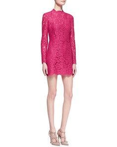 Long-Sleeve Scalloped Lace Minidress, Cherry by Valentino at Neiman Marcus.