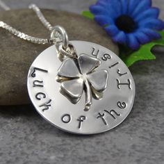 "Hand Stamped Jewelry - Luck of the Irish -  Four Leaf Clover - Sterling Silver Necklace - Personalized Jewelry. Would be cute with ""Erin go bragh"" Up with Ireland."