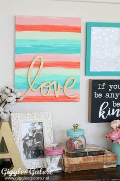 Wall Art @heidiswapp wall words made into canvas art from DecoArt
