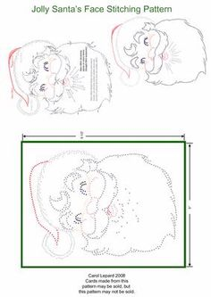 Jolly Santa s Face Stitching Pattern on Craftsuprint designed by Carol Lepard - This Stitching Pattern is of a Very Jolly Santa's Face. - Now available for download!