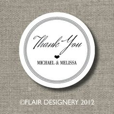 Personalized THANK YOU Wedding Stickers  Set by FlairDesigneryLLC, $18.00