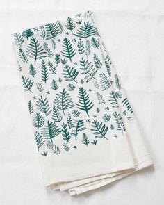 Tea Towels - Set of 3 - Organic Cotton - Ferns - Kitchen Towels - Organic Flour Sack Towels - Unpaper Towels - Woodland Decor - Screen Print Woodland Decor, Textiles, Flour Sack Towels, Animal Pillows, Cotton Towels, Screen Printing, Organic Cotton, Kitchen Towels, Stamps
