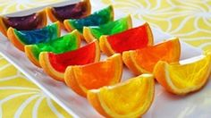 Rainbow Gelatin Orange Wedges -- bright translucent smiles of gelatin that catch sunlight like a prism -- are a total score!
