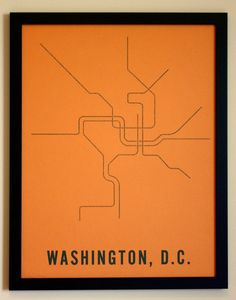 Washington D.C. Typographic Transit Map Poster by fadeoutdesign, $25.00