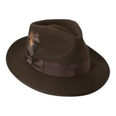 """The New Yorker hat is a wool felt center crease hat that has a 16-Ligne grosgrain trim, double bow, satin lined, and a bound edge 2 1/4"""" brim. It also has Scala Leather Sweat. Special Features: Feathe"""