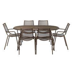 Buy John Lewis Ala Mesh 6-Seater Table & Chairs Dining Set, Bronze Online at johnlewis.com