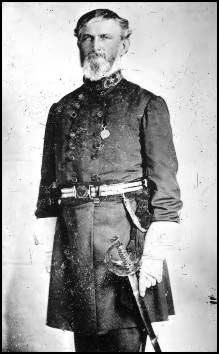 THEIR MENTOR AND FATHER-FIGURE: THE ORLEANS LIGHT HORSE WAS THE ESCORT COMPANY TO LIEUTENANT GENERAL LEONIDAS POLK from April '62 until the general's death in June'64.  In his pre-war capacity as Bishop of Louisiana, Polk was well-acquainted with a number of the families of the light horse troopers.