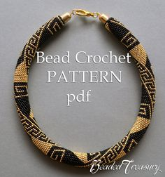 Bead crochet pattern necklace Greek Meanders /