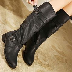 42.37$  Buy now - http://di7ux.justgood.pw/go.php?t=203967304 - Flat Heel Double Buckle Mid Calf Boots