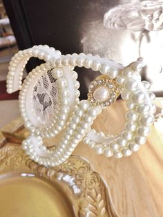Ivory Pearls and Lace Wedding Cake Topper Monogram - Front AND Back Fully Embellished