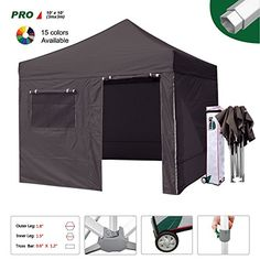 Eurmax Professional 10 X 10 Ez Pop up Canopy Party Tent with 4 Sidewalls Walls High Commercial Grade Full Aluminum Frame and Wheeled Storage Bag 3 Sizes 5 Colors Choose Black 10 X 10 -- Want to know more, click on the image. This is an Amazon Affiliate links.