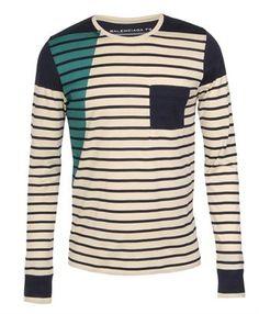 BALENCIAGA   Panel striped cotton t-shirt