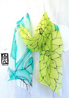 Green Silk Scarf Handmade Aqua & Mint Green by SilkScarvesTakuyo, $64.00