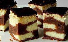 Vynikající čokoládové těsto, tvarohová nádivka a čokoládová glazura se smetanou.